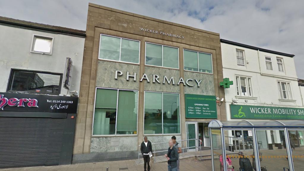 Front of Wicker Pharmacy on the Wicker taken from street by Google Maps